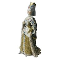 Beautiful Dresden Antique Victorian Porcelain Queen in Trailing Robe