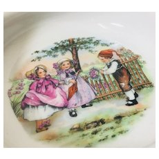 Beautiful Victorian German Cereal Dish with Three Child Childrens Design