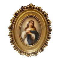 Hand Painted Porcelain Plaque of Woman