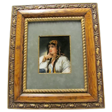 Victorian Hand Painted Porcelain Plaque of Woman Signed  Stickney