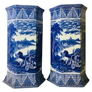 Antique Cauldon English Blue and White Transferware Vases