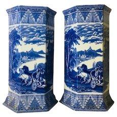 Antique Cauldon English Blue and White Transferware Vases