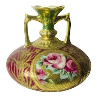 Antique Hand Painted Nippon Style Vase with Gold Overlay