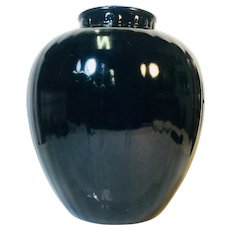 Rookwood Large Blue/Black Vase with Yellow Interior