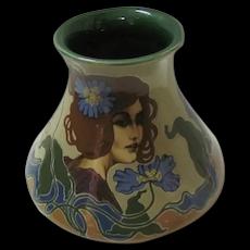 Art Noveau Pottery Vase Hand Painted