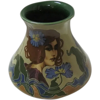Art Noveau Pottery Vase Hand Painted