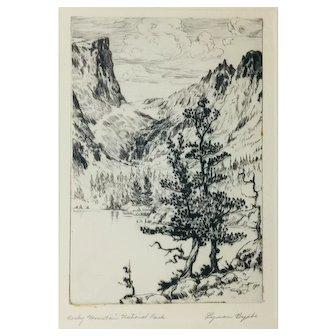 "Lyman Byxbe Original Etching ""Rocky Mountain National Park"""