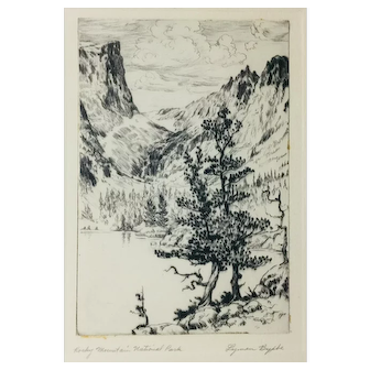 "Lyman Byxbe Original Etching ""Rocky Mountain National Park"""