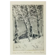 "Lyman Byxbe Original Etching ""Rocky Mountain National Park"" - Aspens"