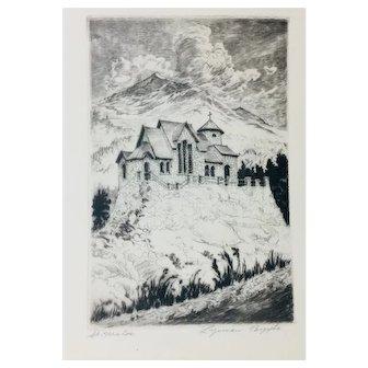 "Lyman Byxbe Original Etching ""St Malo's"""