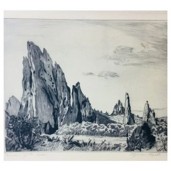 "Lyman Byxbe Original Etching ""Garden of the Gods"", Large size"