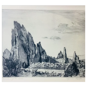 "Lyman Byxbe Original Etching ""Garden of the Gods"", Large size"