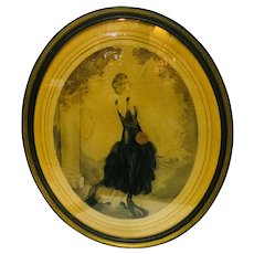 """Lady Flapper print, 1920's in Frame signed """"D' Hardent"""""""