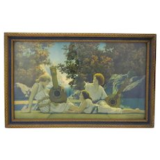 "Maxfield Parish "" Lute Players"" in original frame. Bright Colors"