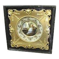 Shadow Box Framed Porcelain Portrait Plate Monk