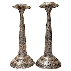 Vintage Repouse Silverplate Candlesticks