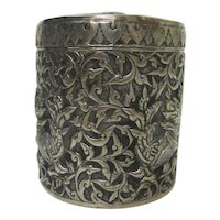 Chinese Silver Hand Chased Covered Box