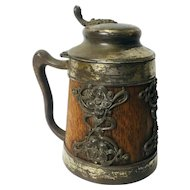 Bavarian or German Metal Clad Oak Beer Stein.