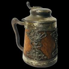 Bavarian or German Metal Clad Oak Beer Stein.