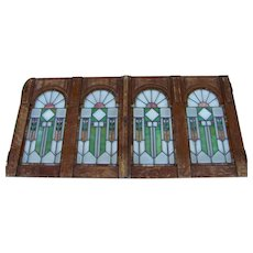 Pair of Art Deco/Arts and Crafts Stained Glass Windows