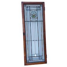 Frank Lloyd Wright Victorian Mission Stained Glass Window with Oak Frame