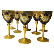 Victorian Gold Clad Ruby Red Wine Glasses, Goblets, Chalices