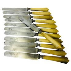 H. Denizat of Langres France. Victorian Horn Handled Table Knives, Set of 12
