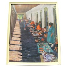 "Santa Fe ""The Marketplace Print"" Signed by Gene Boxe Guest 1964"