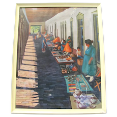 """Santa Fe """"The Marketplace Print"""" Signed by Gene Boxe Guest 1964"""