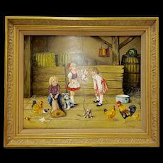 Valentina Wargo Children in Barn Original Painting