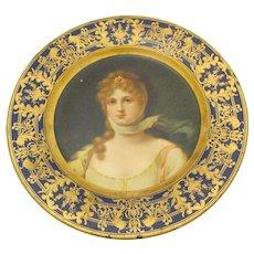 Vienna Art Tin Portrait Plate - Woman Wearing Scarf