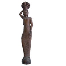 Walnut Wood Carving of Woman