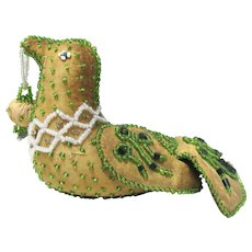 Whimsey Native American Iroquois Green Beaded Bird #2