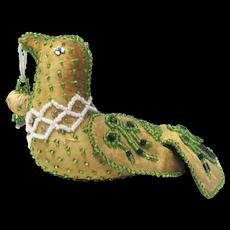 Whimsey Native American Iroquois Green Beaded Bird #2