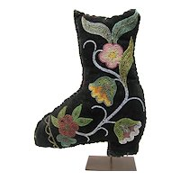 Whimsey Native American Iroquois Indian Beaded Black Boot #2