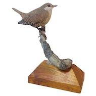 Hand Carved  Wood Rock Wren by Lorett
