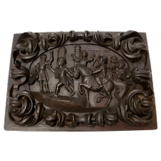 Hand Carved Wooden Spaniard Plaque 19th Century
