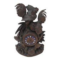 Black Forest Hand Carved Rooster Clock