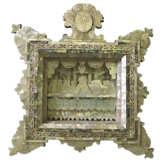 """Carved Mother of Pearl """"Last Supper"""" Diorama Icon Shadow Box"""