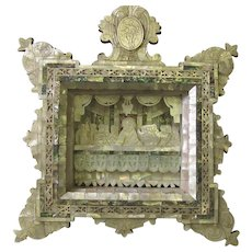 "Carved Mother of Pearl ""Last Supper"" Diorama Icon Shadow Box"