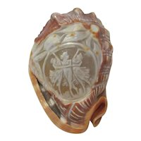 Carved Cameo Shell with Three Graces Motif
