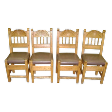 Set of 8 Pine Carved Dining Chairs