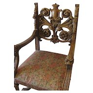 Amercian Oak  Lion Head Thrown Chair