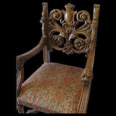 Amercian Oak  Lion Head Thrown Chair