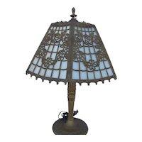 Paneled Slag Glass Filegree Table Lamp