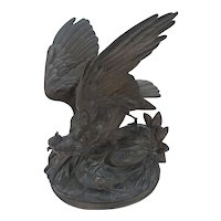 Victorian Bronze Looking Bird Statue Signed  A.Arson