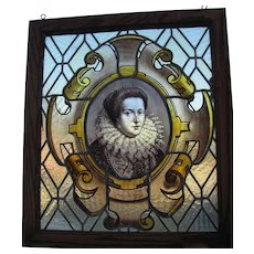 Victorian Hand Painted Stained And Leaded Glass Portrait Window Of Lady Lister