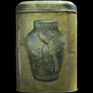 Tin Tea Vintage Container Storage Bird Chinese Vase