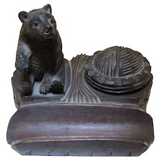 Black Forest Carved Bear Inkwell