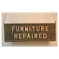 "Wooden ""Furniture Repaired"" Trade Sign"